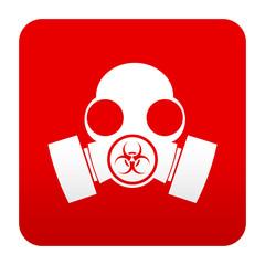 Etiqueta tipo app roja simbolo mascara biohazard