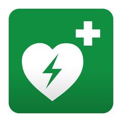 Etiqueta tipo app verde simbolo sanitario desfibrilador