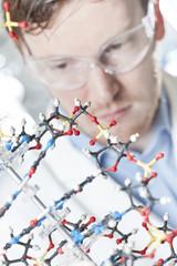 Deutschland, Junge Wissenschaftler mit DNA-Modell