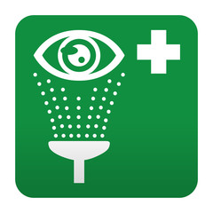 Etiqueta tipo app verde simbolo sanitario lavado de ojos