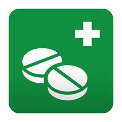 Etiqueta tipo app verde simbolo sanitario medicamentos