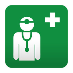 Etiqueta tipo app verde simbolo sanitario medico