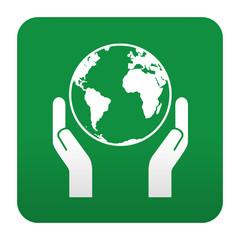 Etiqueta tipo app verde simbolo salvar el planeta