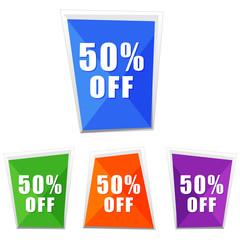 50 percentages off, four colors labels