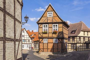 Deutschland, Sachsen -Anhalt, Quedlinburg, Fachwerkhäuser am Finkenherd