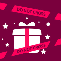 do not cross the line crossing a gift box