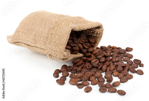 Coffee beans in sack isolated on white