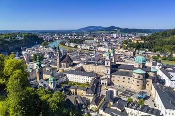 Österreich, Salzburg, Blick von der Festung Hohensalzburg und Salzburger Dom Stadt