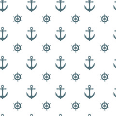 Seamless nautical pattern with white anchors and ship wheels