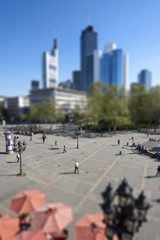 Deutschland, Hessen, Frankfurt am Main, Tilt-Shift- Blick auf den Opernplatz