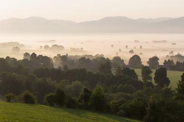 Deutschland, Bayern, Ansicht Murnauer Moos mit Nebel bei Sonnenaufgang