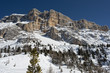 Dolomites huge panorama view in winter snow time