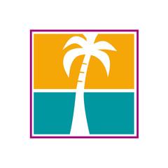 Vector logo palm and sea
