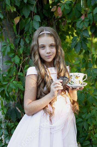 Beautiful girl with a Cup of tea