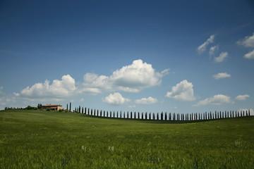 Italien, Toskana, Hausansicht mit Landschaft und Zaun
