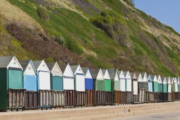 England, Bournemouth, Ansicht von Strandhütten im Resort