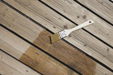 Deutschland, Köln, Holzplatte mit Pinsel