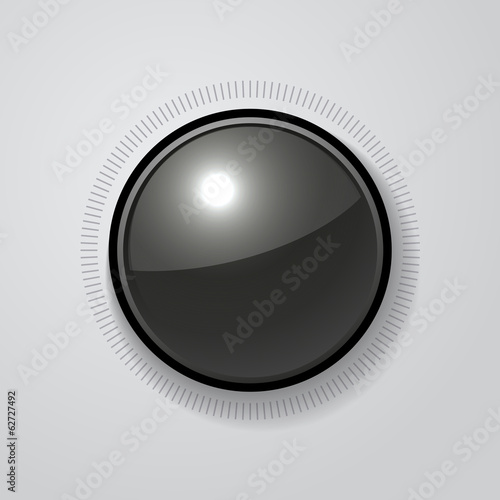Volume Dial Black Glossy Button Vector
