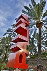 Spanien, Palma, Mallorca, Statue von PALMA in Briefen