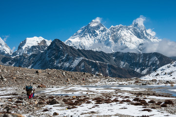 A view of Mt. Everest from Renjo Pass, Everest region, Nepal