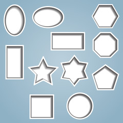 Set of 11 shapes with cut out effect showing shadow beneath.