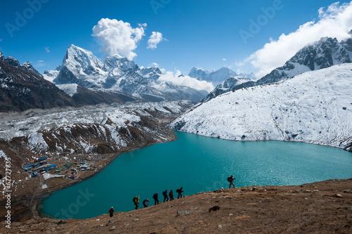 Poster Nepal Gokyo lake and himalayas, Everest region, Nepal
