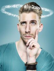 Junger Mann mit fliegenden Formeln um seinen Kopf, Composite
