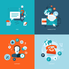 Flat icons for web and mobile phone services and apps