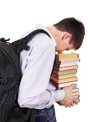 Tired Student with the Books