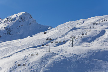 Schweiz, Carmenna, Blick Ski- Sessellift