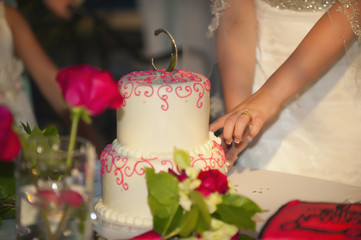 USA, Texas, Junge Braut schneiden hochzeitstorte