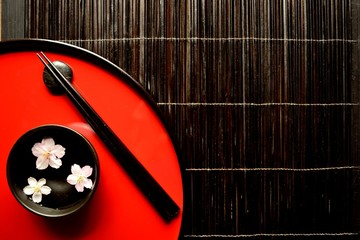 Japanese red tray,chopsticks with cherry blossoms
