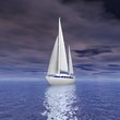Sailing luxury yacht on beautiful seascape