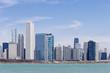 USA, Illinois, Chicago, Skyline mit Blick auf den Lake Michigan
