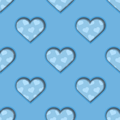 Blue 3d Hearts Seamless Background