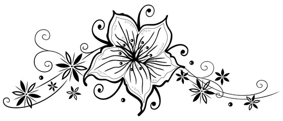 Blätter Ornament mit Lilie und Blumen