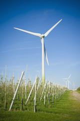 Deutschland, Sachsen, Ansicht der Windkraftanlage