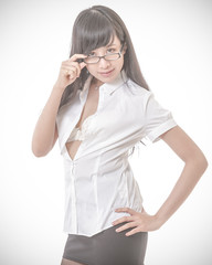 Sexy Chinese businesswoman with glasses