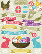 background with ribbon, easter eggs, rabbit and flower
