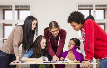 Österreich, Gruppe von Studenten lernen gemeinsam