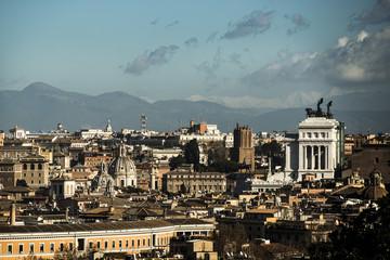 Italien, Rom, Ansicht von der Piazza Venezia und Altare della Patria in Gianicolo