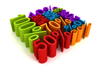 all colorful percent discount sale price numbers cube shape