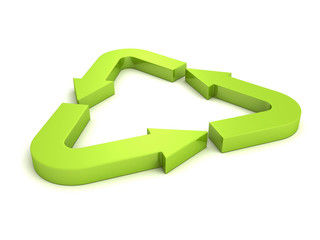 Colourful Rendered Green Process Recycle Arrows