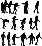 Fototapety skating silhouette vector