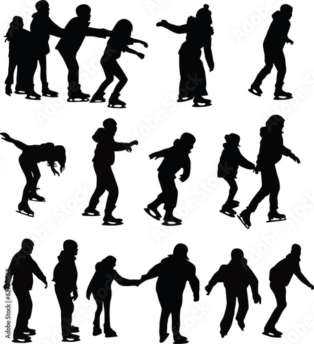 skating silhouette vector - 62730844