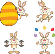 Cute Rabbits Cartoon Mascot Characters 2. Set Collection