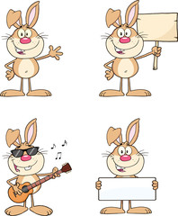 Cute Rabbits Cartoon Mascot Characters 1. Set Collection