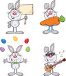 Cute Rabbits Cartoon Mascot Characters 17. Set Collection