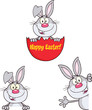 Cute Rabbits Cartoon Mascot Characters 20. Set Collection