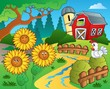 Farm theme with sunflowers